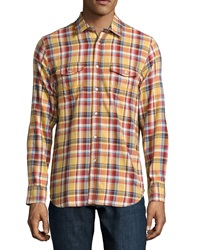 Howe Plaid Front Snap Shirt Vintage Gold