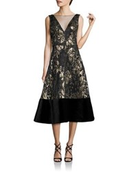 Theia Sleeveless V Neck Dress Black Gold