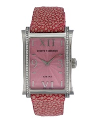 Cuervo Y Sobrinos Prominente Clasico Ray Skin And Diamond Watch Pink