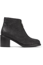 Maison Martin Margiela Mm6 Zip Embellished Textured Leather Ankle Boots Black