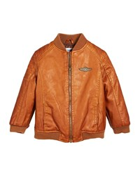 Mayoral Vintage Aviator Faux Leather Jacket Size 12 36 Months Brown
