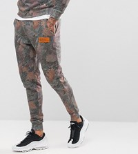 Hype Skinny Joggers In Wood Camo Green