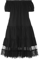 I.D. Sarrieri Summertime Off The Shoulder Lace Paneled Cotton Blend Dress Black