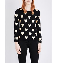 Burberry Bilboa Heart Print Knitted Jumper Black