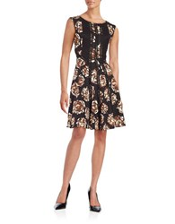 Taylor Lace Accented Fit And Flare Dress Black Brown
