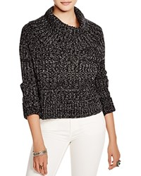 Free People Twisted Cable Sweater Black Combo