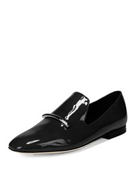 Via Spiga Tallis Patent Leather Flat Loafers Black