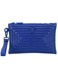 Versace Quilted Clutch Bag Men Cotton Leather One Size Blue