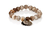 Miracle Icons Men's Charms On Beaded Bracelet Silver