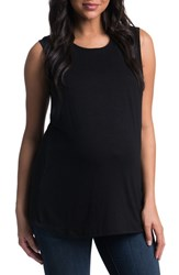 Women's Bun Maternity High Neck Maternity Tank Black