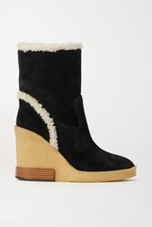 Tod's Shearling Trimmed Suede Wedge Ankle Boots Black