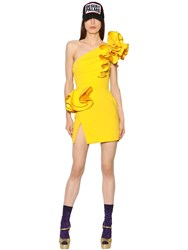 Dsquared One Shoulder Ruffled Stretch Crepe Dress