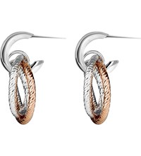 Links Of London Aurora Sterling Silver And 18Ct Rose Gold Vermeil Hoop Earrings Mixed Metal
