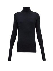 Raey Roll Neck Fine Rib Cashmere Sweater Navy
