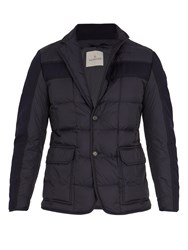 Moncler Ardenne Layered Quilted Down Coat Navy