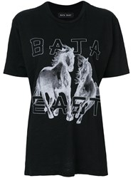 Baja East Two Horse Print T Shirt Cotton Rayon Black