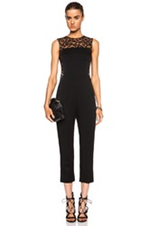 Alexander Mcqueen Leopard Lace And Crepe Jumpsuit In Black Animal Print