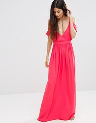 Oh My Love Cold Shoulder Grecian Maxi Dress Pink