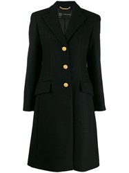 Versace Single Breasted Wool Coat Black