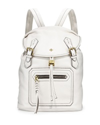 Oryany Jaylin Flap Top Leather Backpack White