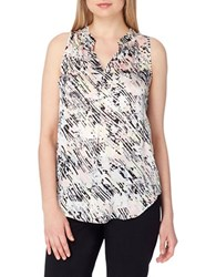 Tahari By Arthur S. Levine Printed Regular Fit Sleeveless Blouse Pink