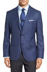 Boss Men's 'Jeen' Trim Fit Plaid Wool Sport Coat Open Blue