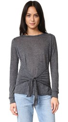 David Lerner Tie Front Long Sleeve Tee Charcoal Grey