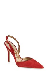 Women's Sam Edelman 'Dora' Pointy Toe Slingback Pump Desert Red