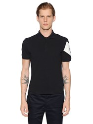 Moncler Gamme Bleu Cotton Pique Polo With Printed Sleeve