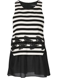 Thakoon Layered Striped Tank Black