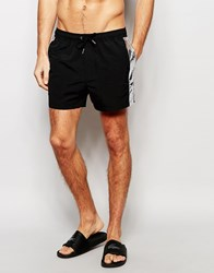 Asos Short Length Swim Shorts In Black With Silver Panels Black