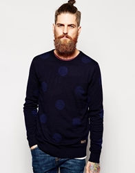 Scotch And Soda Jumper With Polka Dot Blue