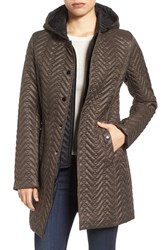 Larry Levine Women's Two Tone Hooded Bib Quilted Coat Taupe
