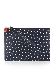 Lulu Guinness Grace Leather Lip Print Mini Pouch Navy