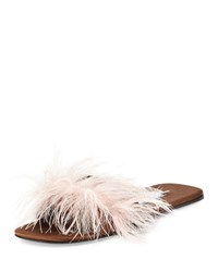 Prada Feather Embellished Flat Mule Sandal Brown Pink Brown Pink