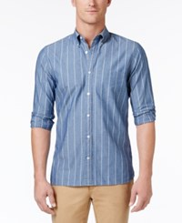Brooks Brothers Red Fleece Men's Fine Striped Chambray Cotton Shirt Blue