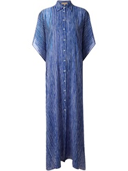 Michael Kors Long Striped Kaftan Blue