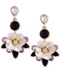 Guess Gold Tone Crystal And Stone Flower Drop Earrings Gold Black