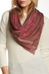 Leigh And Luca Rectangle Fringe Silk Blend Scarf Pink