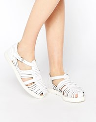 Park Lane T Bar Chunky Leather Flat Shoes White