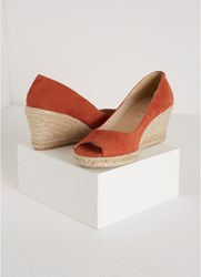 Mint Velvet Cleo Rust Peep Toe Espadrille Dark Orange