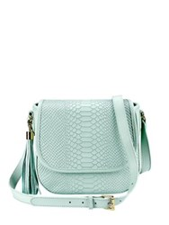 Gigi New York Kelly Python Embossed Leather Saddle Bag Oyster Almond