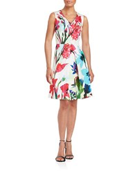 Ellen Tracy Floral Fit And Flare Dress Ivory Multi