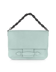 Sonia Rykiel Light Blue Large Leather Clutch W Black Chain