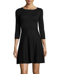 French Connection Sydney 3 4 Sleeve Fit And Flare Dress Black