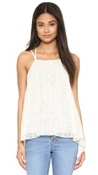 Alice Olivia Ravenna Embroidered Handkerchief Cami Cream