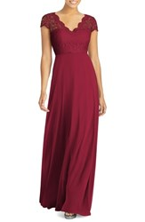 Dessy Collection Cap Sleeve Lace And Chiffon Gown Burgundy