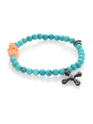 King Baby Studio Turquoise Bead And Conch Shell Skull Bracelet