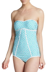 Laundry By Shelli Segal One Piece Printed Strapless Swimsuit Aqua Reef