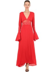 Pink Memories Long Crepe And Lace Dress Red